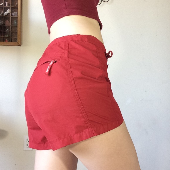 Guess Pants - Vintage GUESS Athletic Board Shorts Red